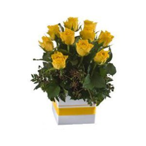 Short Yellow roses in Mini box 503
