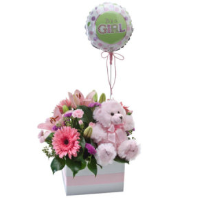 Its A Girl 314 Flower box with teddy and balloon.