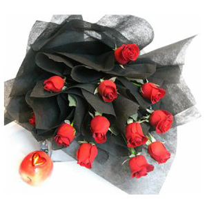 Twilight red rose bouquet