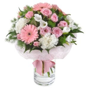 Bella 297  Delicate posy with Glass Vase