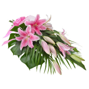 Graceful Pink Oriental Lily Bouquet - 381