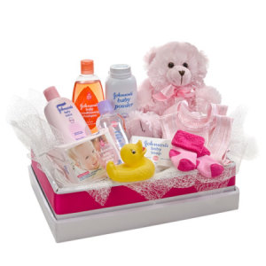 Cuddles for her 311 Teddy bear with selection of baby Care Goods