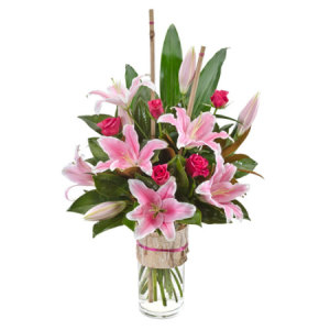 Allegra 359 With Vase Modern bouquet of Oriental Lilies & Roses in Vase
