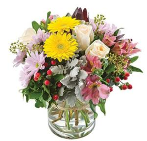 Jaclyn SA182 - Bright mix bouquet with glass vase