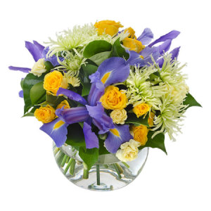 Anastasia-WS218 Vibrant Bouquet in a Fishbowl Vase