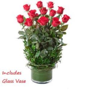 Desire 224 - 12 long stem red roses in glass vase