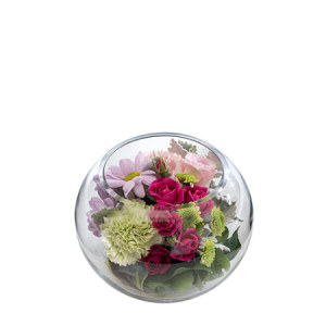 Miranda Arrangement in a fishbowl vase M161