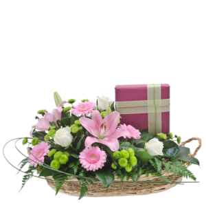 Double delight- Fresh flowers in basket with chocolates 287