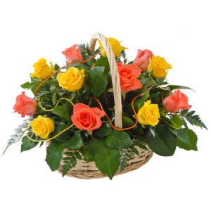 Caress yellow & Orange Rose Basket 241