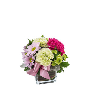 Carrie Petite Arrangement in a glass cube M165
