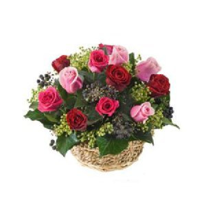 Basket of mixed colour roses 951