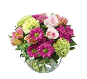 Alexia SA176- Stunning Seasonal bouquet in a Fishbowl Vase
