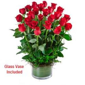 Desire 228- 24 long stem red roses in low glass vase