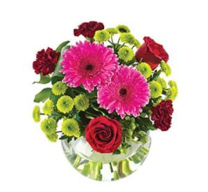 Amelia SA168- Vibrant bouquet in a fishbowl vase